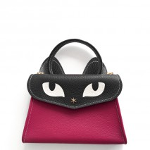 'Chantilly Le chat Petit' Sac à main Cuir Nappa Fuchsia