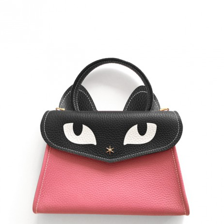 'Chantilly Le chat Petit' Sac à main Cuir Nappa Rose