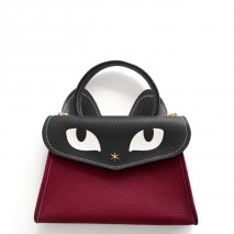 'Chantilly Le Chat Petit' Nappa Leather handbag Dark red