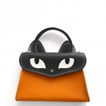 'Chantilly Le chat Petit' Sac à main Cuir Nappa Orange