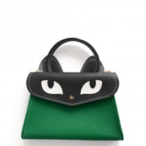'Chantilly Le Chat Petit' Nappa Leather handbag 'Lagon' Green