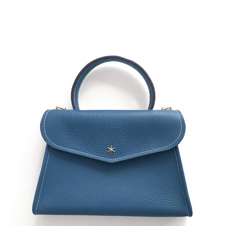 'Chantilly Petit' Sac à main Cuir Nappa Indigo & Or