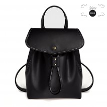 'Fontainebleau' Leather Backpack Black & Gold