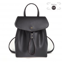 'Fontainebleau' Leather Backpack Dark Grey & Gold