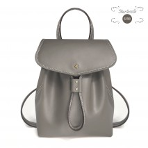 'Fontainebleau' Leather Backpack Light Grey & Gold
