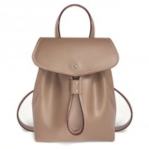 'Fontainebleau' Leather Backpack Taupe & Gold