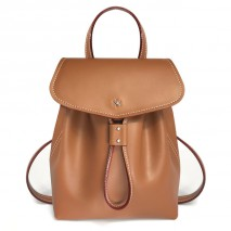 'Fontainebleau' Leather Backpack Cognac & Gold