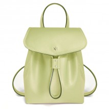 'Fontainebleau' Leather Backpack Asperge & Gold
