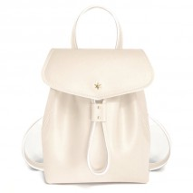 'Fontainebleau' Leather Backpack Cream & Gold