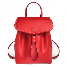 'Fontainebleau' Leather Backpack Red & Gold