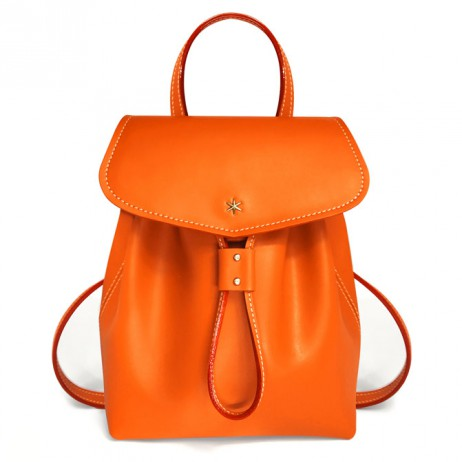'Fontainebleau' Sac à dos Cuir Orange & Or