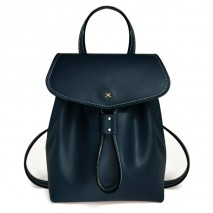 'Fontainebleau' Leather BackpackDark Blue & Gold