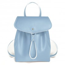 'Fontainebleau' Leather Backpack Light Blue & Gold