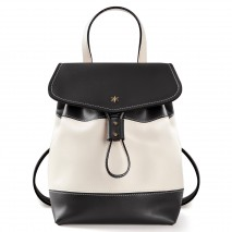 'Fontainebleau Duo' Leather Backpack Cream, Black & Gold