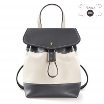 'Fontainebleau Duo' Leather Backpack Cream, Dark Grey & Gold