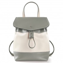 'Fontainebleau Duo' Leather Backpack Cream, Light grey & Silver