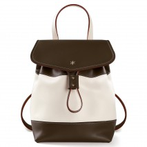 'Fontainebleau Duo' Leather Backpack Cream, Chocolate & Gold