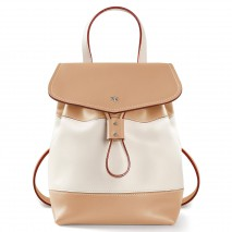 'Fontainebleau Duo' Leather Backpack Cream, Dijon & Silver