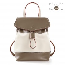 'Fontainebleau Duo' Leather Backpack Cream, Grizzli & Gold