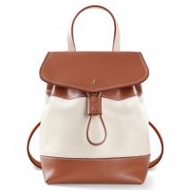 'Fontainebleau Duo' Leather Backpack Cream, Cognac& Gold