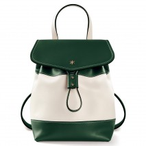 'Fontainebleau Duo' Leather Backpack Cream, Dark Green & Gold