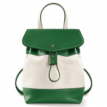 'Fontainebleau Duo' Leather Backpack Cream, Green & Gold