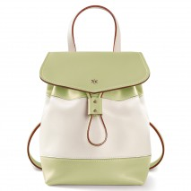 'Fontainebleau Duo' Leather Backpack Cream, Light Green & Silver