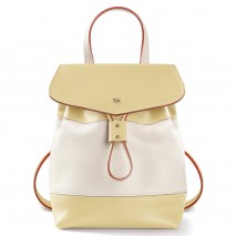 'Fontainebleau Duo' Leather Backpack Cream, Anis & Silver