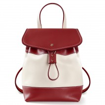 'Fontainebleau Duo' Leather Backpack Cream, Bordeau & Gold
