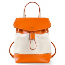 'Fontainebleau Duo' Leather Backpack Cream, Orange & Gold