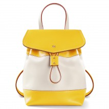 'Fontainebleau Duo' Leather Backpack Cream, Yellow & Silver