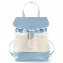 'Fontainebleau Duo' Leather Backpack Cream, Light Blue & Gold