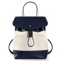 'Fontainebleau Duo' Leather Backpack Cream, Dark Blue & Gold