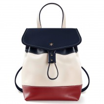 'Fontainebleau Duo' Leather Backpack Cream, Bordeau, dark Blue & Gold