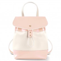 'Fontainebleau Duo' Leather Backpack Cream, Light Pink & Gold