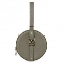 'Macaron' Nappa Leather round handbag Elephant Grey & Gold