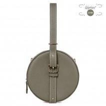 'Macaron' Nappa Leather round handbag Elephant Grey & Gold
