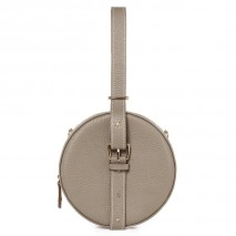 'Macaron' Nappa Leather round handbag Warm grey & Gold