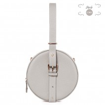 'Macaron' Nappa Leather round handbag Pearl & Gold