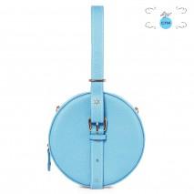 'Macaron' Nappa Leather round handbag Azur & Gold