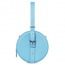 'Macaron' Nappa Leather round handbag Azur & Gold