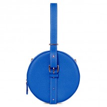 'Macaron' Nappa Leather round handbag Cyan & Gold