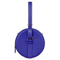 'Macaron' Nappa Leather round handbag Deep Blue & Gold