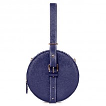 'Macaron' Nappa Leather round handbag Navy & Gold