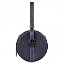 'Macaron' Nappa Leather round handbag Dark Blue & Gold