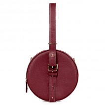 'Macaron' Nappa Leather round handbag Bordeaux & Gold