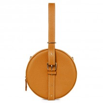 'Macaron' Sac à main Rond Cuir Nappa Orange & Or