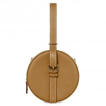 'Macaron' Nappa Leather round handbag Cognac & Gold