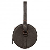 'Macaron' Nappa Leather round handbag Chocolate & Gold