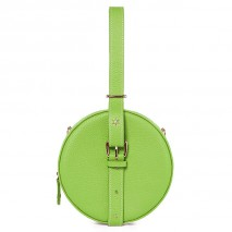 'Macaron' Nappa Leather round handbag Apple green & Gold